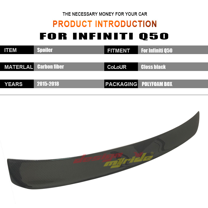 For Infiniti Q50 Tail Rear Roof Window Spoiler Wing Carbon Fiber Q50 Q50S 4 Door Auto Racing Car Tail Lip Wing Spoiler 2015 2018 in Spoilers Wings from Automobiles Motorcycles