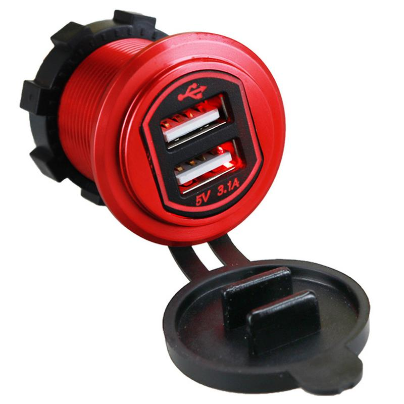 Metal Aluminum Shell 3.1A Fast Charge Dual USB Car Charger Modified Motorcycle Car Charger Aluminum Motorcycle Socket