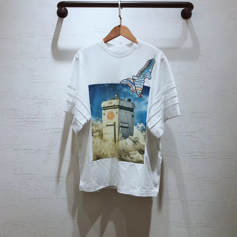 100% coton T-shirt pour les femmes de haute qualité mode imprimé hauts femmes 2019 mode bureau dame o-cou blanc T-shirt
