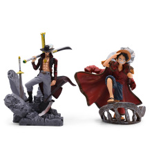 2 Styles Hot Toy Anime One Piece Top War Monkey D. Luffy Dracule Mihawk PVC Action Figure Collectible Model Christmas Gift Toy 8 66statue one piece the straw hat pirates monkey d luffy vs rob lucci gk action figure collectible model toy 22cm box d822