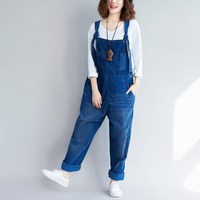 Loose Casual Corduroy Jumpsuits Hole Retro Sleeveless Ripped Jumpsuits Vintage Overalls Strapless Paysuits Female