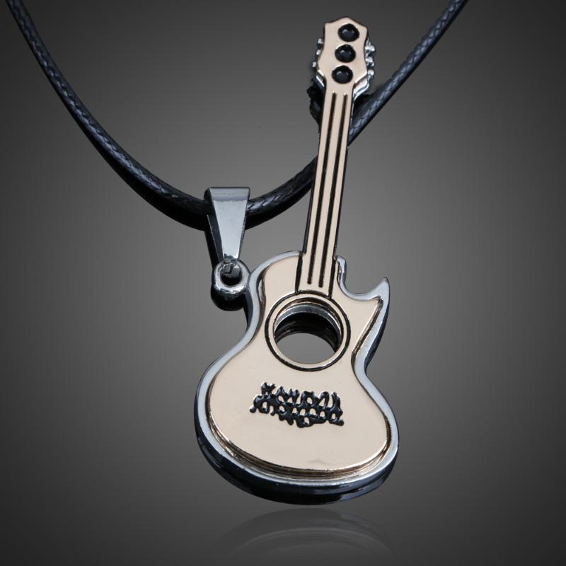 Lovely <font><b>Guitar</b></font> Pendant <font><b>Necklace</b></font> Boy Girl Jewelry <font><b>Unisex</b></font> <font><b>Titanium</b></font> <font><b>Steel</b></font> image
