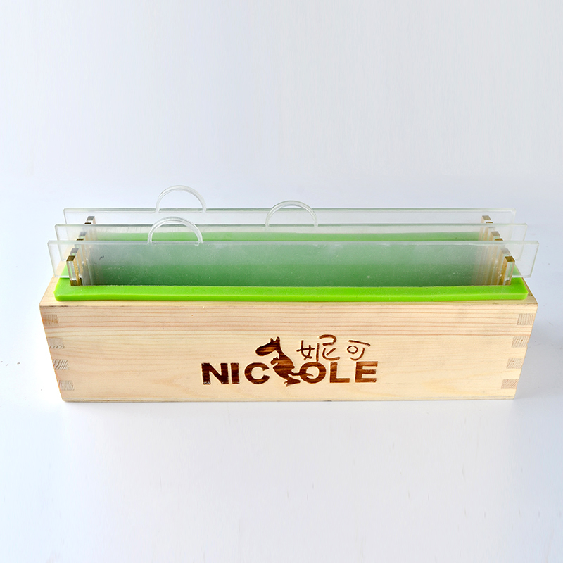 Silicone Render Soap Mold Set Rectangle Loaf Mould with Wood Box and Transparent Vertical Acrylic Clapboard DIY Handmade Soap in Soap Molds from Home Garden