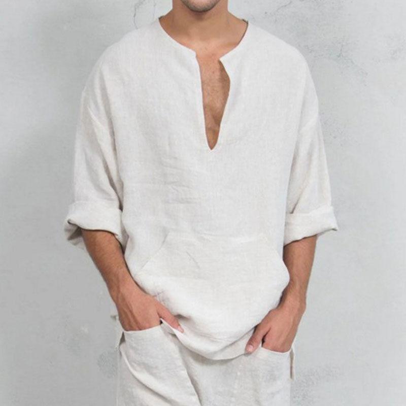 Vintage Men/'s V Neck Loose Fit Long Sleeve Cotton Linen Shirt Top Casual Blouse