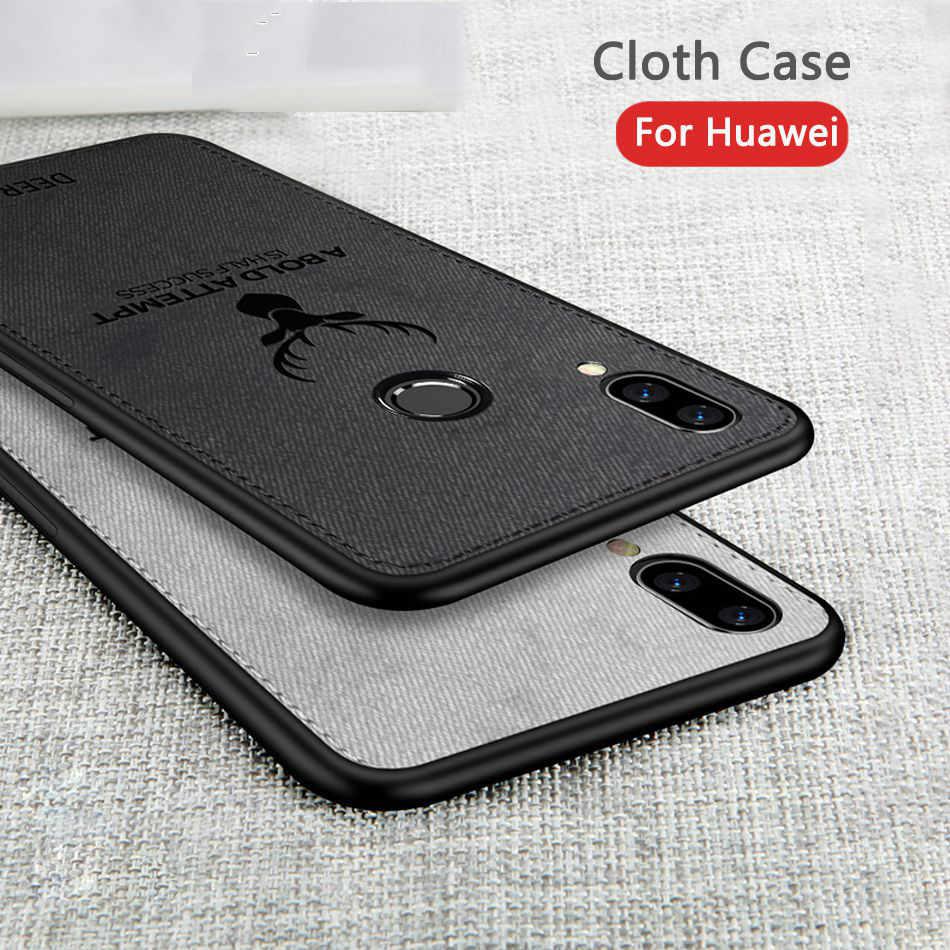 Frabric Hươu Vải Ốp Lưng Dẻo Silicone Huawei P Thông Minh 2019 P20 Lite Pro Nova 3 3i Có Cho Honor 8X7X10 9 Lite Mate20 Lite Pro