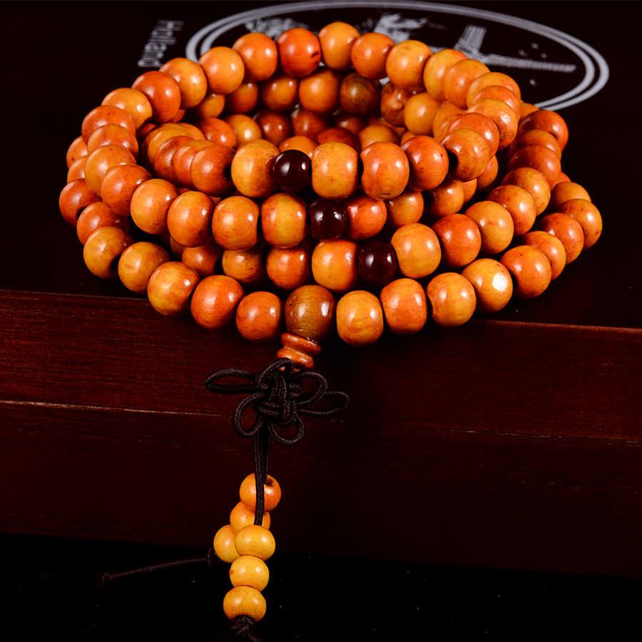 108 koraliki 8mm z prawdziwego drzewa sandałowego buddyjski budda drewno modlitwa zroszony węzeł czarny heban Unisex mężczyzn bransoletki i Bangles dla kobiet