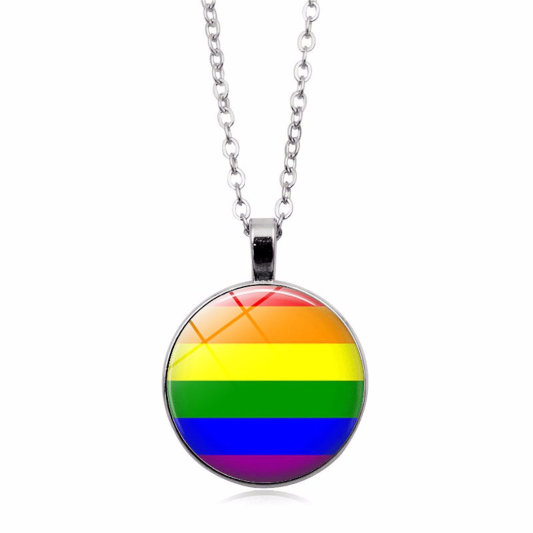 Fashion Glass Colorful Rainbow Round Pendant Necklace For <font><b>Bisexual</b></font> Lgbt Gay Pride <font><b>Jewelry</b></font> Shellhard Unisex Silver Long Chain image