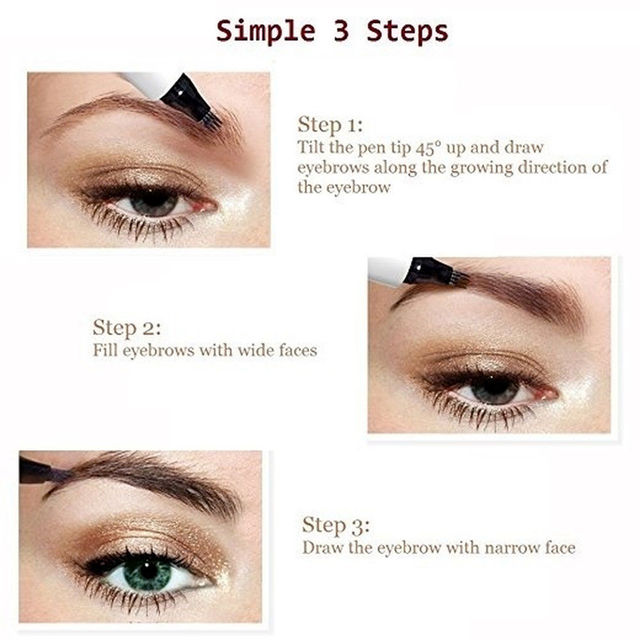 9 Colors 4 Head Henna Eyebrow Marker Pencil Microblading EyeBrow Thin Pen Painless Liquid Eyebrows Shades Makeup Eyebrow Tattoo Pencil Eyebrow Henna 5