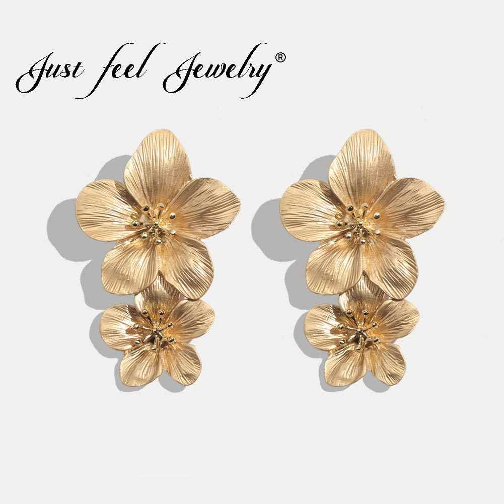 JUST FEEL Fashion Flower Long Stud Earrings For Women Boho Vintage Gold Color Geometric Statement Earring Wedding Party Jewelry