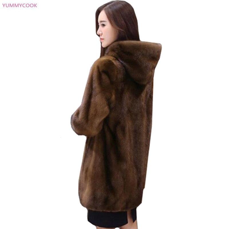 Plus size S 6XL Boutique vrouwen hooded bontjas elegante high end imitatie mink fur Jassen losse warm kunstmatige bont jassen 217-in Namaakbont van Dames Kleding op  Groep 1