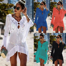 2019 Women Bathing Suit Lace Crochet Bikini Cover Up Swimwear Summer Beach Dress