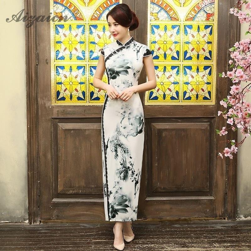 Spring Summer New Lace Cheongsam Modern Retro Long Dresses Oriental Style Elegant Qi Pao Women Traditional Chinese Dress China