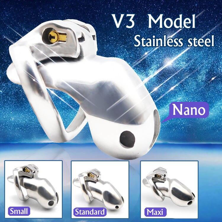 HT V3 Нержавеющая сталь Мужской Целомудрие устройство нано/Малый/стандарт/Макс клетка с 1 кольцо для пениса для взрослых сексуальные игрушки