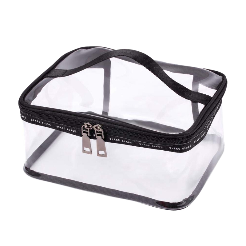 Portable Clear Makeup Bag Zipper Waterproof Transparent Travel Storage Pouch Cosmetic Toiletry Bag With Handle(2 Pack) Black