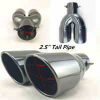 63mm 2.5 Inlet Double barrel Outlet Car Rear Muffler Exhaust Tip Pipe Black