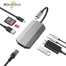 Dex station for samsung note 8 s8 s9 s8 + usb 유형 c 허브 오디오 thunderbolt 3 어댑터 (macbook pro 용 4 k hdmi 1000 m 이더넷 포함)