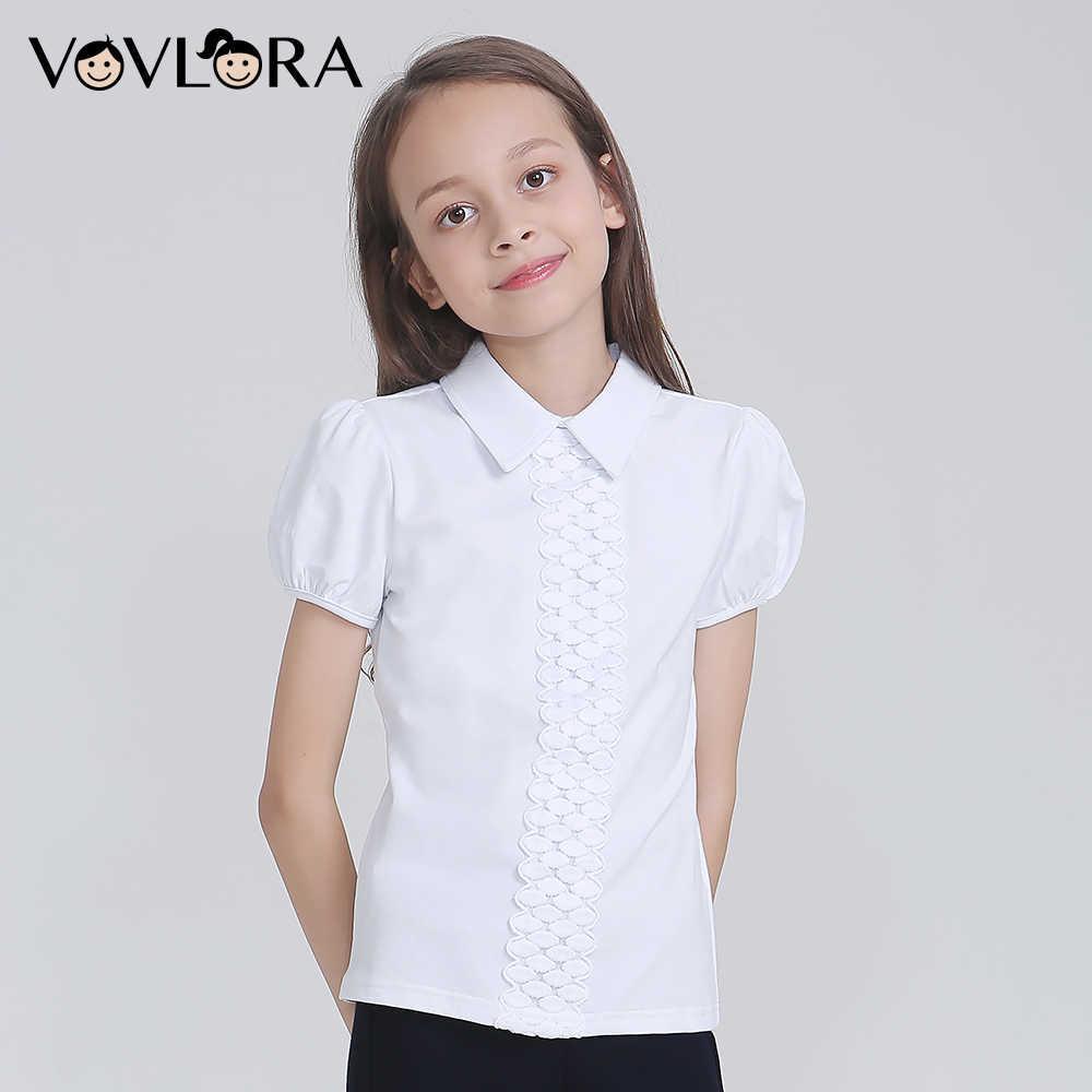 f9658ab91fd Vovlora Школьная блузка для девочек белый цвет короткие рукава отложной  воротник школьная форма для девочек школьная