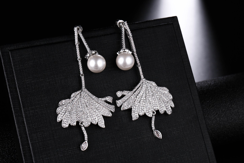 Umgoely marque nouveauté luxe boucles d'oreilles cubique zircone fleur perle boucle d'oreille élégant femmes de mariage bijoux cadeau