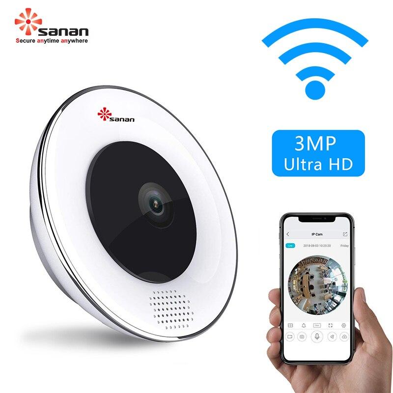 Sanan 3MP Wifi caméra Vision nocturne caméra de Surveillance panoramique détection de mouvement Fisheye caméra de sécurité moniteur bébé