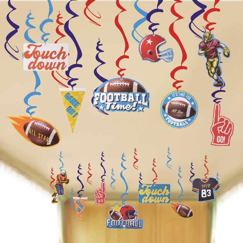 Футбол день игры вечерние украшения потолка висит декоративные завитки спортивные темы дети День рождения принадлежности классе дома