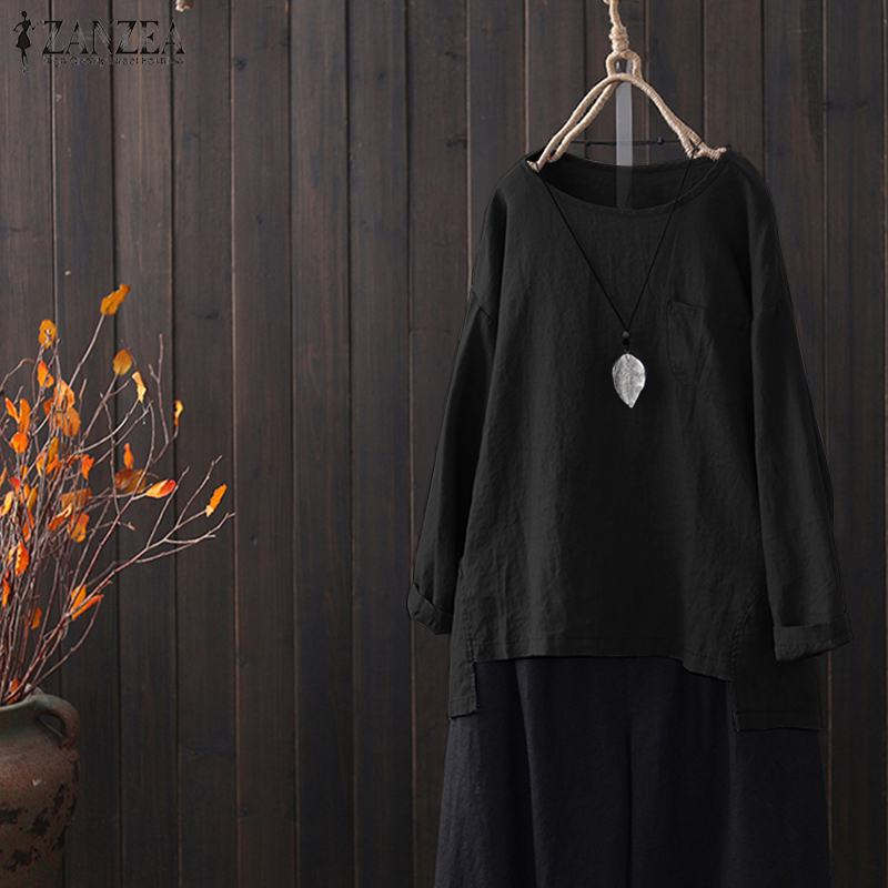Summer Tunic Blusas Women Cotton Linen Shirt ZANZEA Female Long Sleeve O Neck Loose Solid Blouse Vintage Tops Femininas Chemise