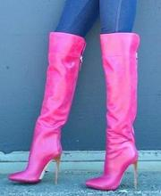 Sexy Pink Leather Women High Boots Pointed Toe Back Zipper Plus Size 43 Stiletto Heels Over The Knee Boots Ladies Winter Shoes blue denim water wash over the knee boots stiletto heels pumps cowboy shoes high heels pointed toe autumn winter knight boots