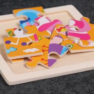Image 5 - מכירה לוהטת קטן גודל עץ קריקטורה בעלי חיים פאזל למידה מוקדמת חינוכיים ילדות קוגניטיבית פאזלים לילדים מתנה