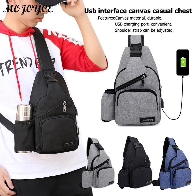 USB Charging New Men Chest Bag Canvas Shoulder Messenger Bags with Side Pocket Male Travel Casual Packs Bolsa de pecho 2019 New messenger bag