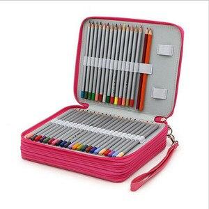 Image 1 - 革ペンケースかわいい estuches 女子高生鉛筆ケース素材アブラソコムツペンバッグボックス 124 穴 estuches lapices escolares