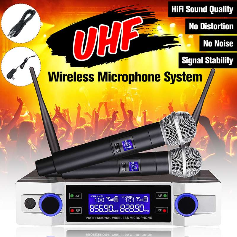KINCO UHF Wireless Microphone System 2 Channel 2 Cordless Handheld Mic Kraoke Speech Party Supplies Cardioid Microphone