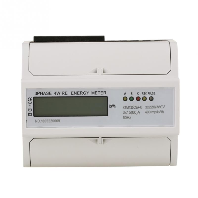 1 Set Din-rail Energy Meter 3 x 220V/380V Digital 3-phase 4 Wire 7P DIN-Rail Electric Meter 7 digits Electronic KWh Meter цена