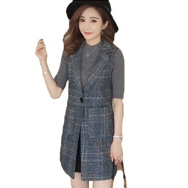#0713 Spring Autumn Long Plaid Suit Vest Women Lattice Sleeveless Jacket Femme Office Lady Waistcoat Slim Fit Women Blazer Vest
