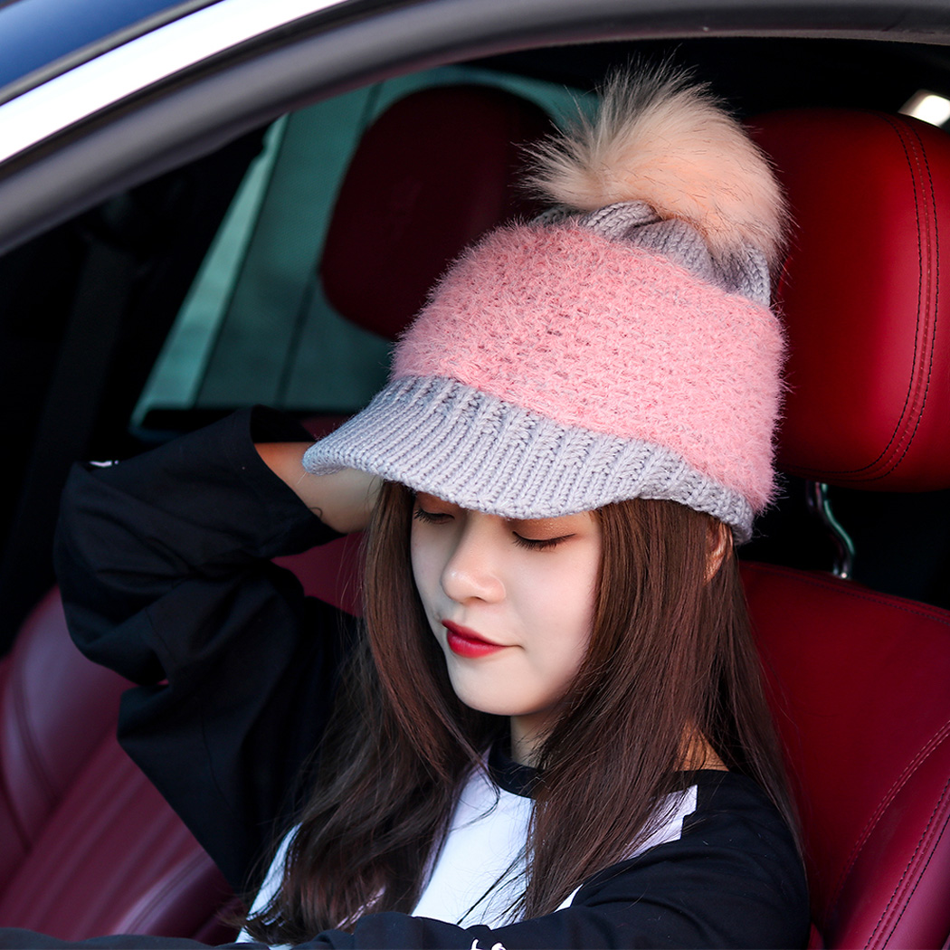 Kawaii Women Baseball Caps Pom Cute Knitted Winter Hats For Female Pom Poms  Girls Thick Warm be98a061a6be