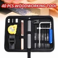 40Pcs Carpenter Woodworking Tool Kit Wood Carving Curve Saws Planer Blade Set Metal 25x15x4.5cm Hand Tool Sets Portable Durable