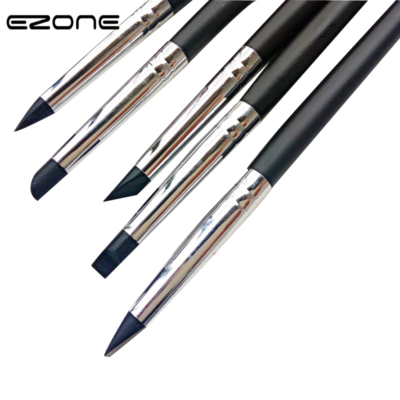 EZONE 5PCS Paint Brush For Gouache Acrylic Drawing Different Size Shape  Watercolor Oil Painting Silicone Brushes School Supply