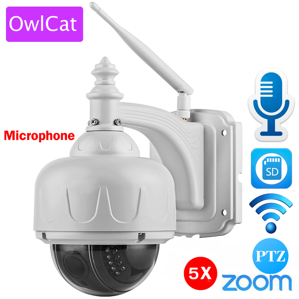 OwlCat Wireless IP Telecamera Dome PTZ per Esterni con Microfono Altoparlanti A Due Vie Audio Talk WiFi HD 1080 p 960 p 5X Zoom Slot Per Schede SD