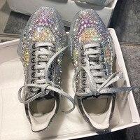 Женские кроссовки Золушки с бриллиантами, прозрачные кроссовки на массивной платформе, женская обувь из натуральной кожи с разноцветными и