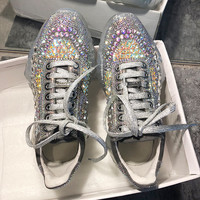 Cinderella Diamond F Sneaker For Womens Clear Chunky Platformtrainers Real Leather Colorful And Silver Crystal Women Shoes