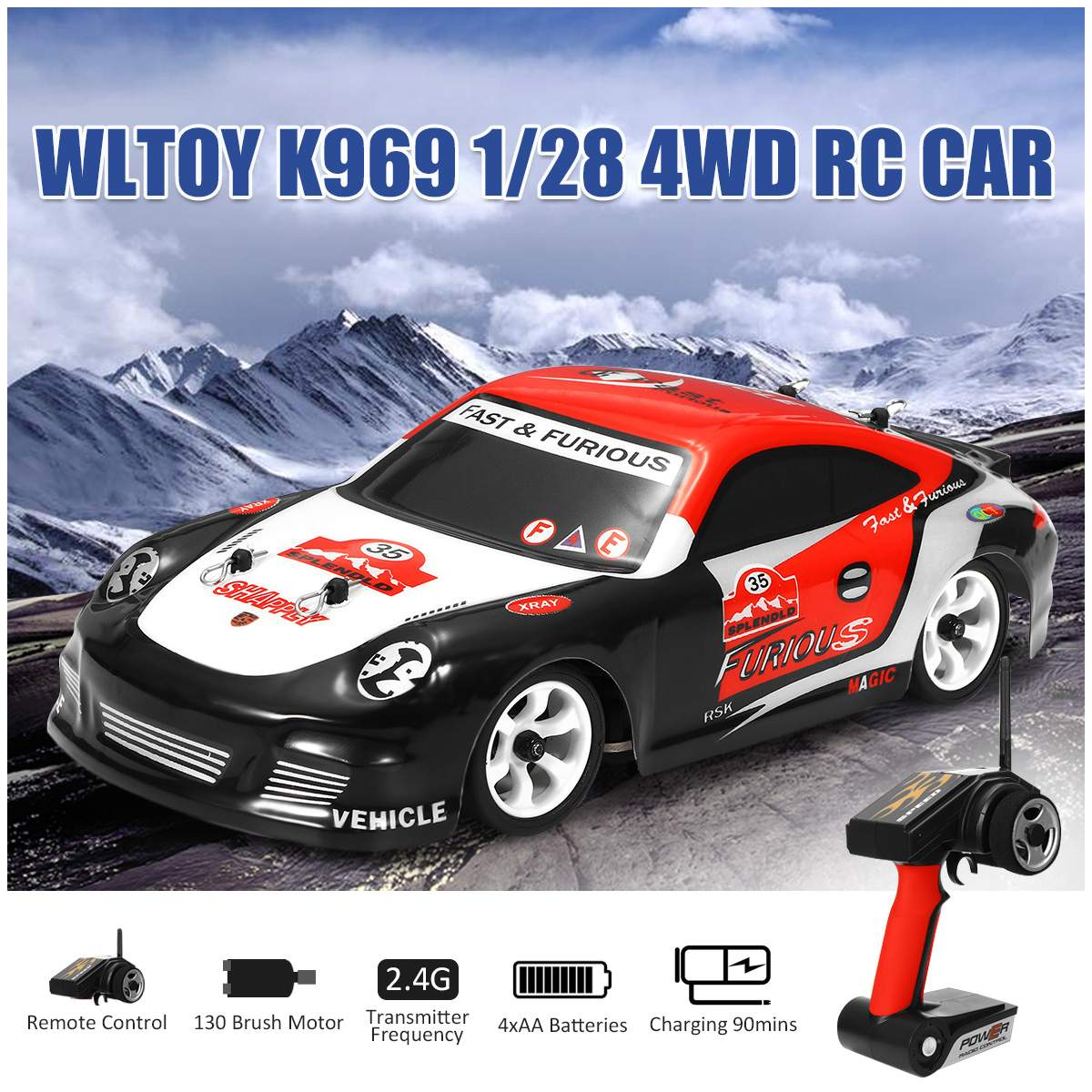 Electronic Wltoys K969 1/28 2.4G 4WD Brushed High Speed Drift RC Kids Toy Car Independent Shockproof System 130 Brush Motor