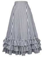 Vintage skirts Women Casual Club Party Striped patterb pleated ruffles Print elastic lace up Skirts steampunk gothic skirt falda