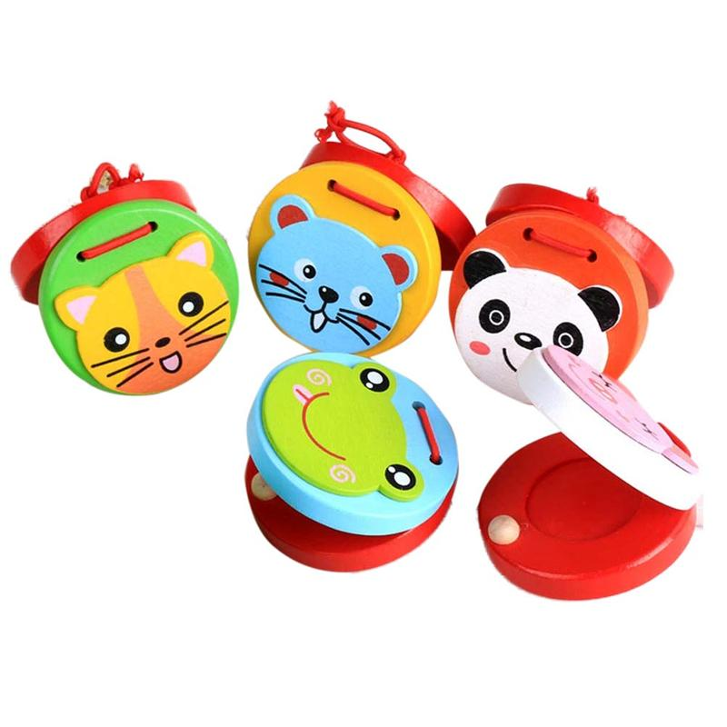 5pcs Wooden Early Education Cute Cartoon Toy Wooden Castanet Musical Instrument Toy for Baby Kid Infant