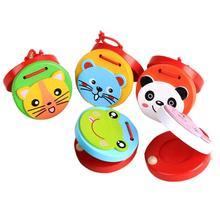 5 шт. деревянные раннее образование милые Мультяшные игрушки деревянные кастаньеты музыкальный инструмент игрушки для дети, младенцы, новорожденные