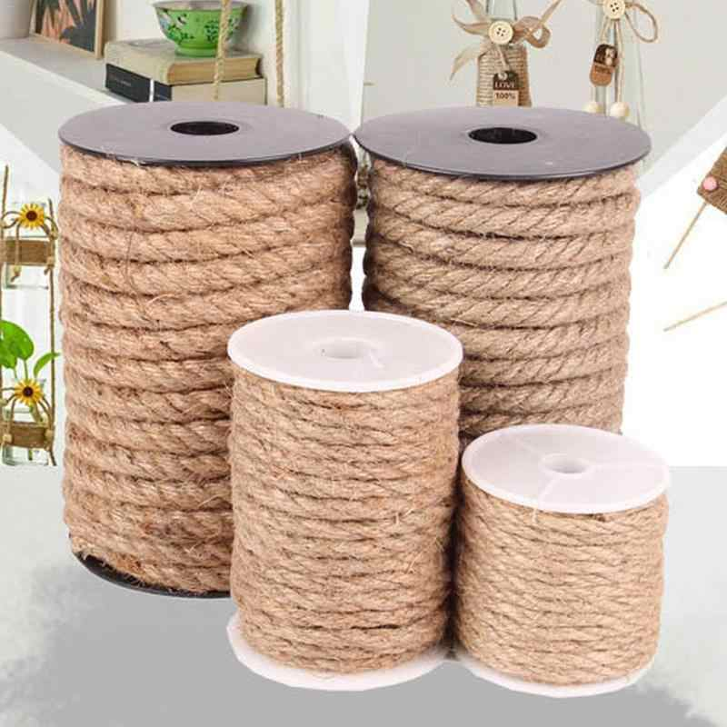 10M Natural hand-made jute rope packaging lamp decoration rope binding hemp ropes packaging customized DIY decorative