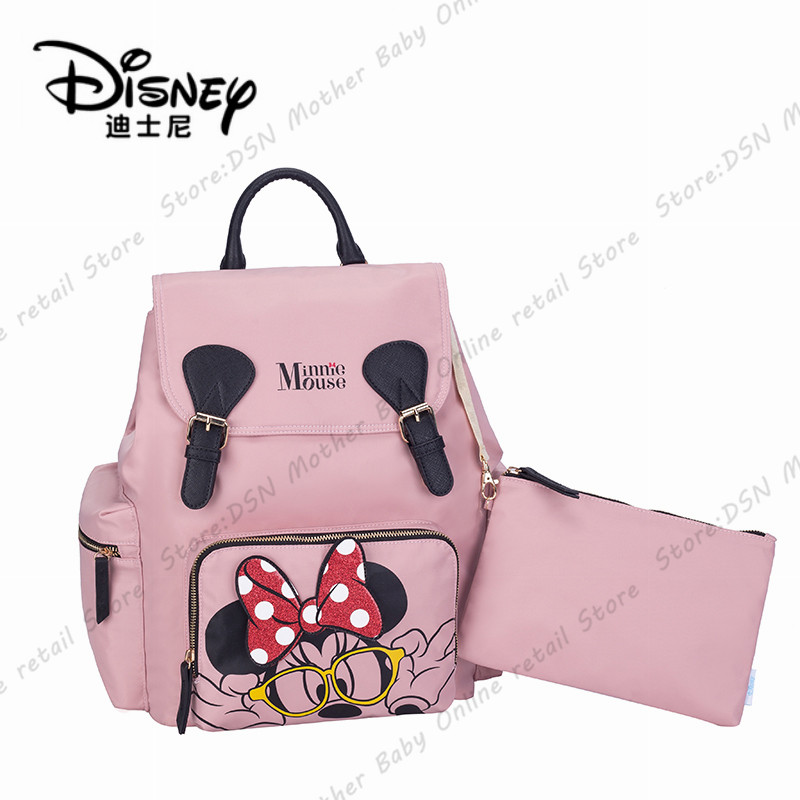 6fdd3904204d2 Disney 2pcs/set Minnie Pink Diaper Bag Backpack Large Capacity Baby Bag  Nappy Bag For Baby Care Travel Backpack Nursing Handbag