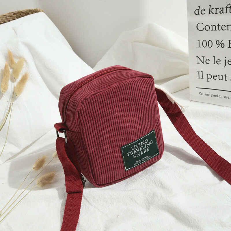 新しいファッションラブリー女性女性のバッグミニシングルショルダーメッセンジャーバッグコーデュロイサッチェルトートバッグ財布電話バッグ