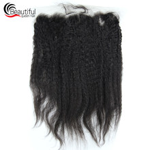 Beautiful Queen 10A Peruvian Human Hair Kinky Straight 13x4 Lace Frontal Natural Color 130 Density Virgin Hair With Baby Hair(China)