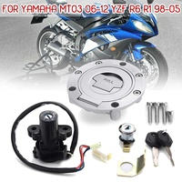 Motorcycle Ignition Switch Lock Fuel Gas Cap Key Set For Yamaha MT03 06 12 YZF R6 R1 XJ6 FJ09 FZ09 FZ07 FJ13 FZ1 FZ6 FZ8