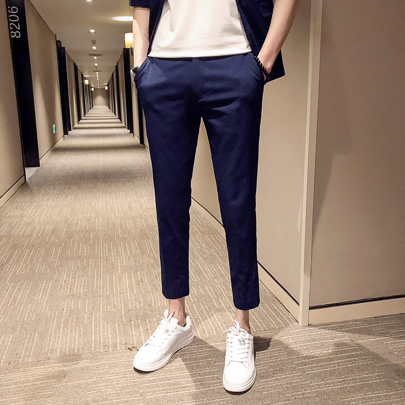 Men 39 s Trousers 2019 Summer New Youth Fashion Nine Pants Pants Slim Suit Pants Feet Personalized Youth Casual Men 39 s Clothing in Suit Pants from Men 39 s Clothing