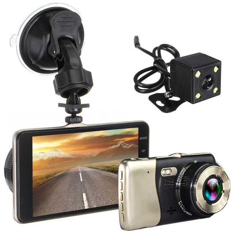 Мини DVR 4 дюйма Двойной объектив тире Камера HD 1080P автомобиль DVR видеорегистратор Регистраторы G Сенсор Ночное видение зеркало заднего вида DVR-in Видеорегистратор from Автомобили и мотоциклы