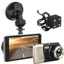 Mini Dvrs 4 بوصة عدسة مزدوجة داش كاميرا HD 1080P جهاز تسجيل فيديو رقمي للسيارات مركبة فيديو كاميرا التسجيل الخاصة بالسيارات G الاستشعار للرؤية الليلية الرؤية الخلفية DVR